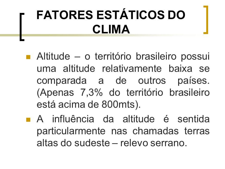 FATORES ESTÁTICOS DO CLIMA Altitude – o território brasileiro possui uma altitude relativamente baixa se comparada a de outros países. (Apenas 7,3% do