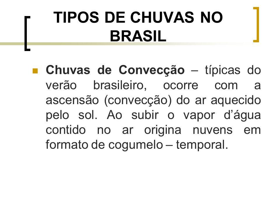 TIPOS DE CHUVAS NO BRASIL Chuvas de Convecção – típicas do verão brasileiro, ocorre com a ascensão (convecção) do ar aquecido pelo sol. Ao subir o vap