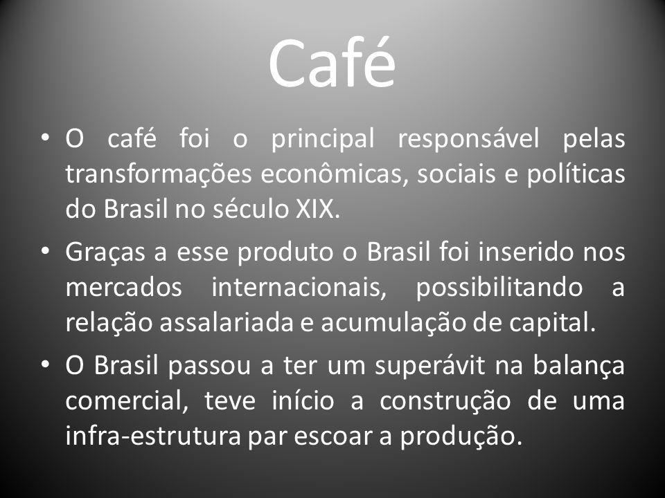 Café O café foi o principal responsável pelas transformações econômicas, sociais e políticas do Brasil no século XIX. Graças a esse produto o Brasil f