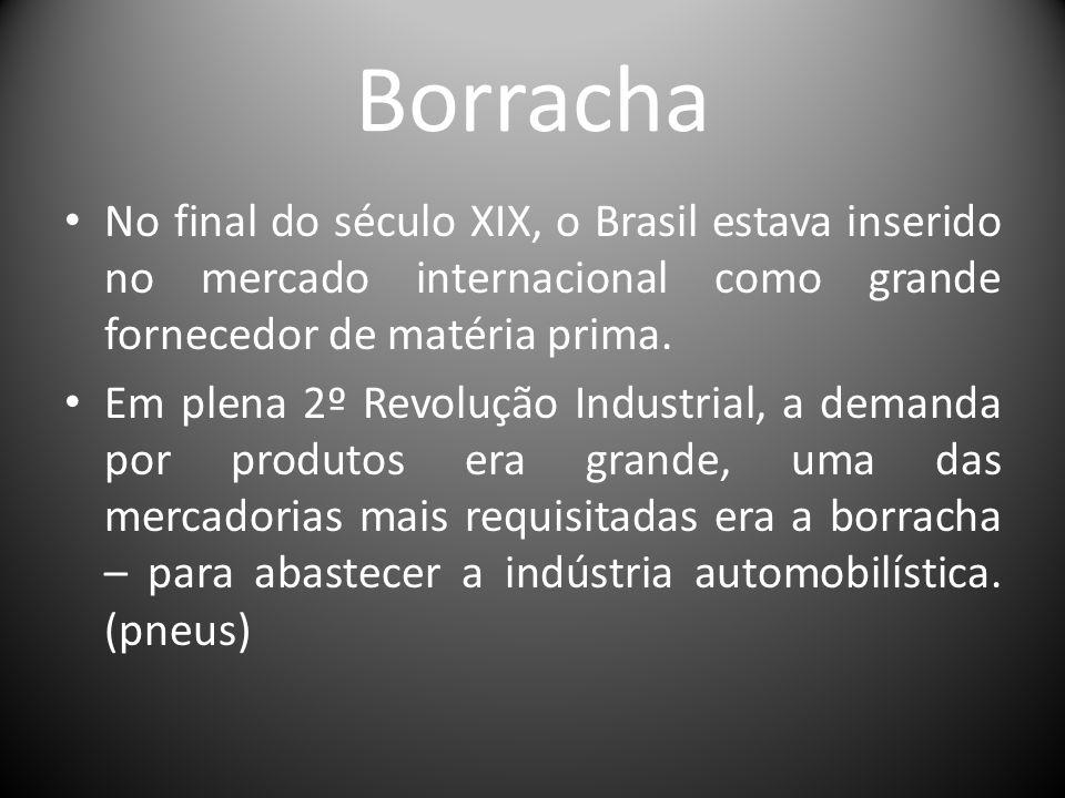 Borracha No final do século XIX, o Brasil estava inserido no mercado internacional como grande fornecedor de matéria prima. Em plena 2º Revolução Indu