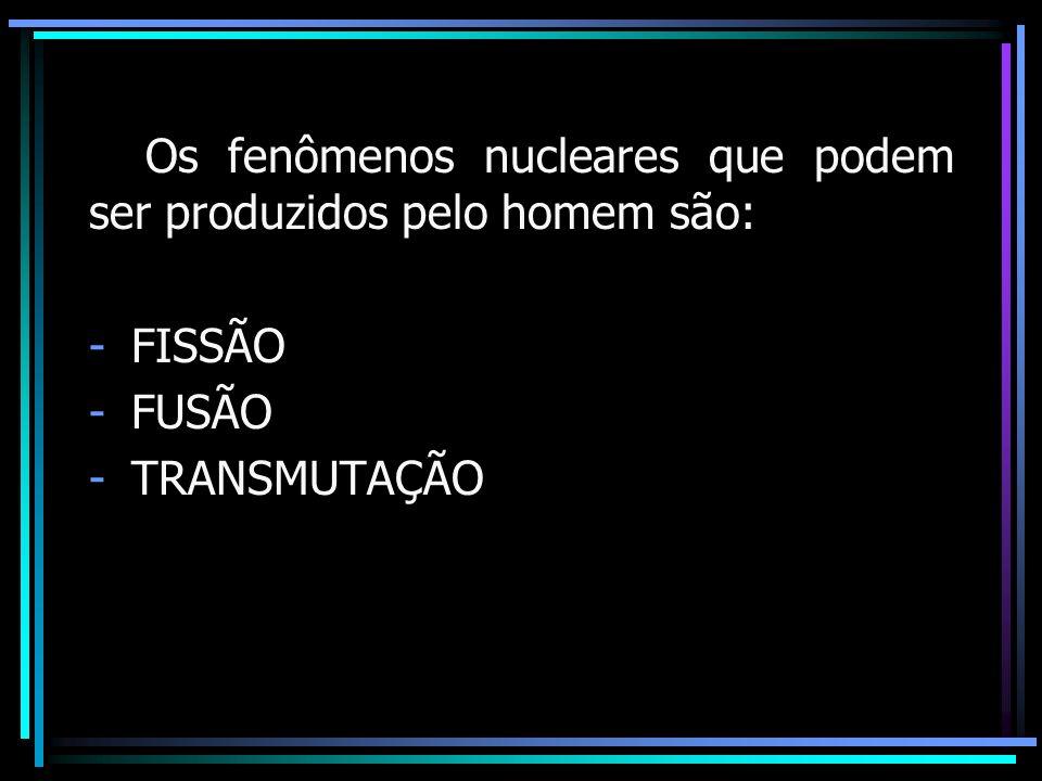Os fenômenos nucleares que podem ser produzidos pelo homem são: -FISSÃO -FUSÃO -TRANSMUTAÇÃO