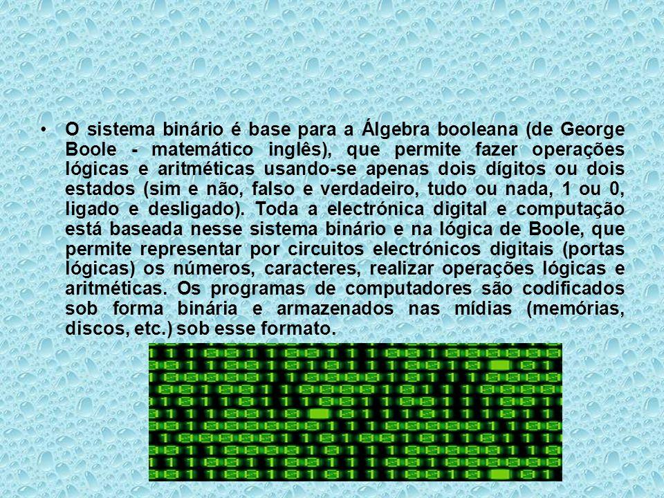 O sistema binário é base para a Álgebra booleana (de George Boole - matemático inglês), que permite fazer operações lógicas e aritméticas usando-se ap