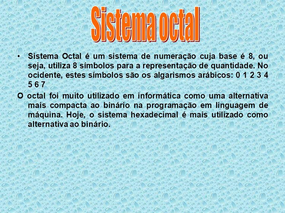 Sistema Octal é um sistema de numeração cuja base é 8, ou seja, utiliza 8 símbolos para a representação de quantidade. No ocidente, estes símbolos são