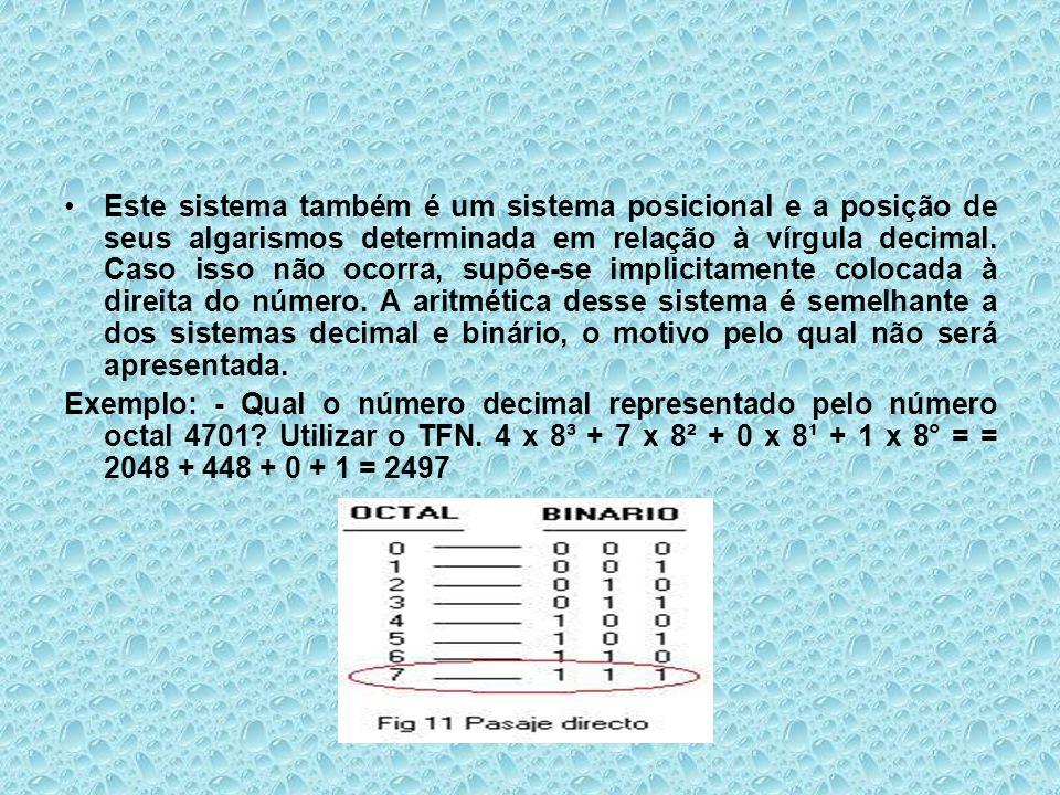 Este sistema também é um sistema posicional e a posição de seus algarismos determinada em relação à vírgula decimal. Caso isso não ocorra, supõe-se im