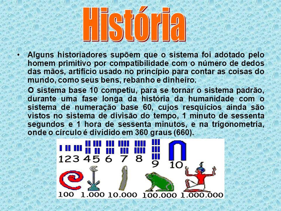 Alguns historiadores supõem que o sistema foi adotado pelo homem primitivo por compatibilidade com o número de dedos das mãos, artifício usado no prin