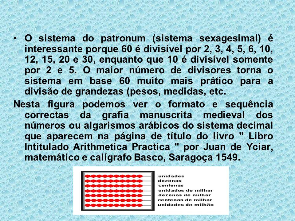 O sistema do patronum (sistema sexagesimal) é interessante porque 60 é divisível por 2, 3, 4, 5, 6, 10, 12, 15, 20 e 30, enquanto que 10 é divisível s