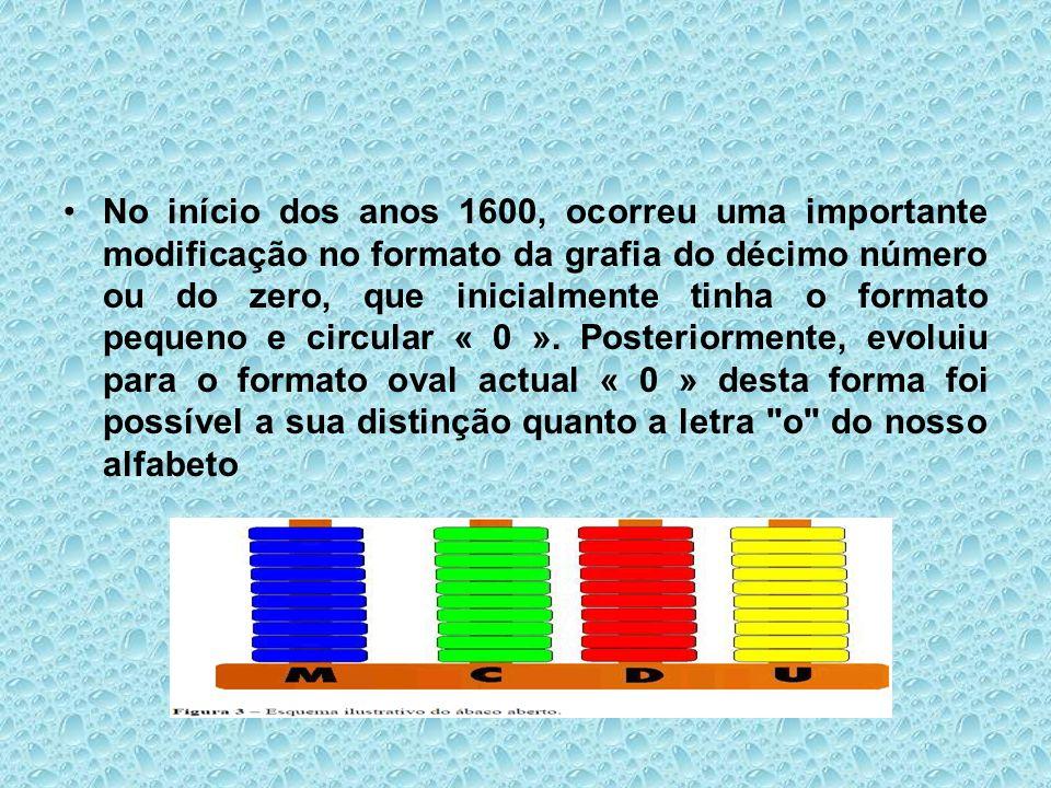 No início dos anos 1600, ocorreu uma importante modificação no formato da grafia do décimo número ou do zero, que inicialmente tinha o formato pequeno