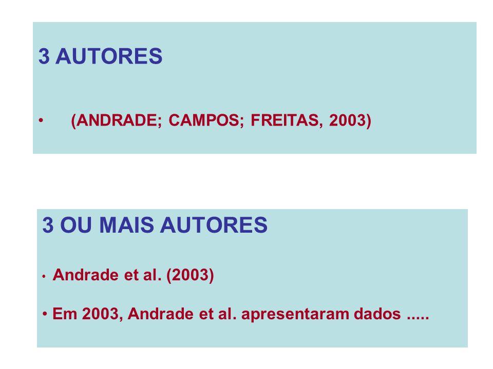 3 AUTORES (ANDRADE; CAMPOS; FREITAS, 2003) 3 OU MAIS AUTORES Andrade et al. (2003) Em 2003, Andrade et al. apresentaram dados.....
