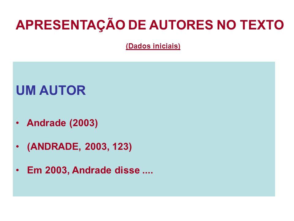 UM AUTOR Andrade (2003) (ANDRADE, 2003, 123) Em 2003, Andrade disse.... APRESENTAÇÃO DE AUTORES NO TEXTO (Dados iniciais)
