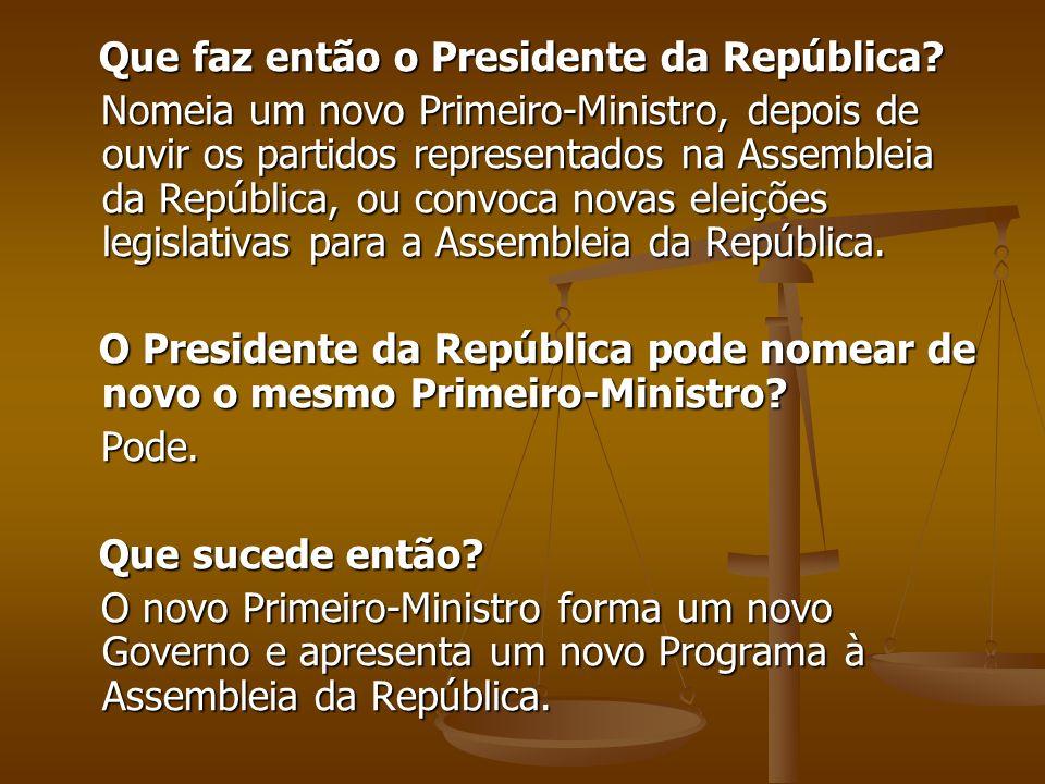 Que faz então o Presidente da República? Que faz então o Presidente da República? Nomeia um novo Primeiro-Ministro, depois de ouvir os partidos repres