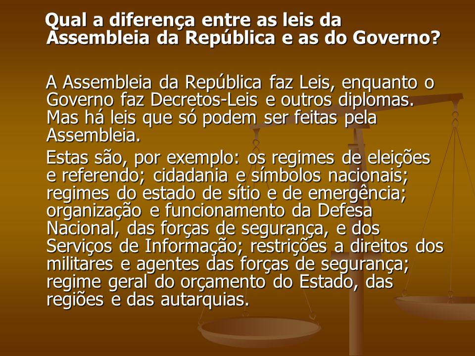 Qual a diferença entre as leis da Assembleia da República e as do Governo? Qual a diferença entre as leis da Assembleia da República e as do Governo?