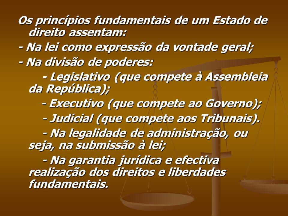 Os princípios fundamentais de um Estado de direito assentam: - Na lei como expressão da vontade geral; - Na divisão de poderes: - Legislativo (que com