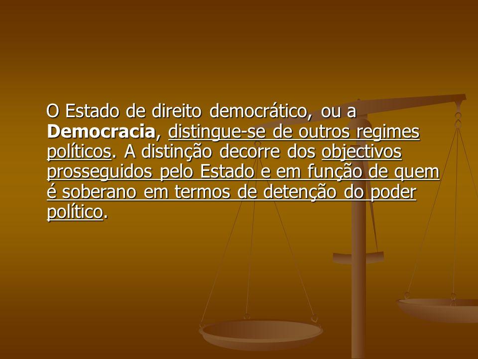 O Estado de direito democrático, ou a Democracia, distingue-se de outros regimes políticos. A distinção decorre dos objectivos prosseguidos pelo Estad