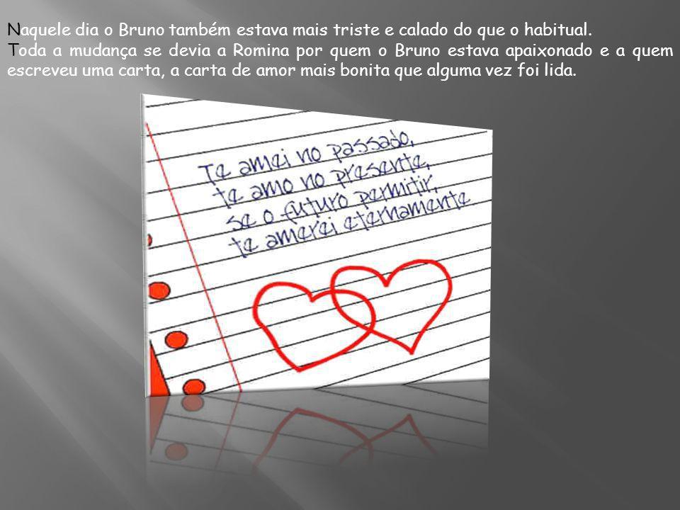 Naquele dia o Bruno também estava mais triste e calado do que o habitual. Toda a mudança se devia a Romina por quem o Bruno estava apaixonado e a quem