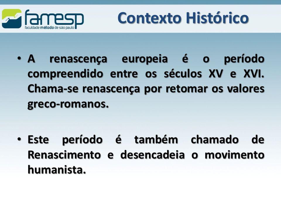 Contexto Histórico A renascença europeia é o período compreendido entre os séculos XV e XVI.