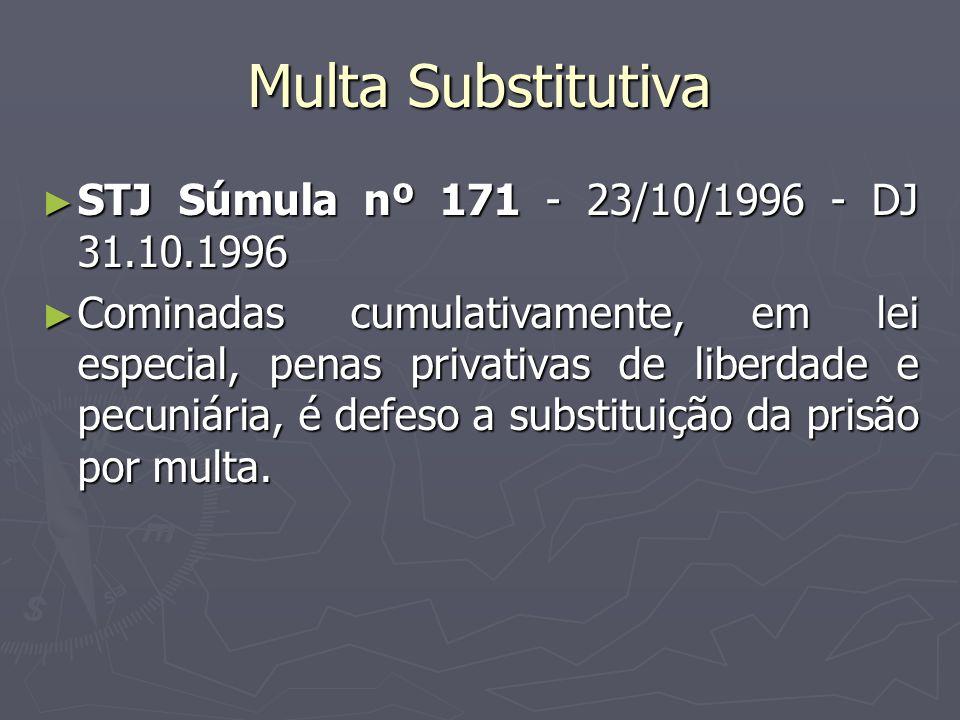 Multa Substitutiva STJ Súmula nº 171 - 23/10/1996 - DJ 31.10.1996 STJ Súmula nº 171 - 23/10/1996 - DJ 31.10.1996 Cominadas cumulativamente, em lei esp