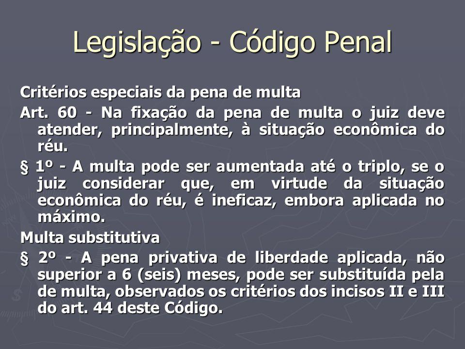 Legislação - Código Penal Critérios especiais da pena de multa Art. 60 - Na fixação da pena de multa o juiz deve atender, principalmente, à situação e