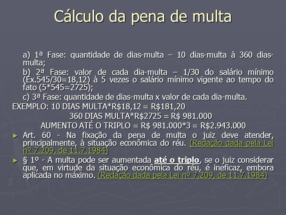 Cálculo da pena de multa a) 1ª Fase: quantidade de dias-multa – 10 dias-multa à 360 dias- multa; b) 2ª Fase: valor de cada dia-multa – 1/30 do salário