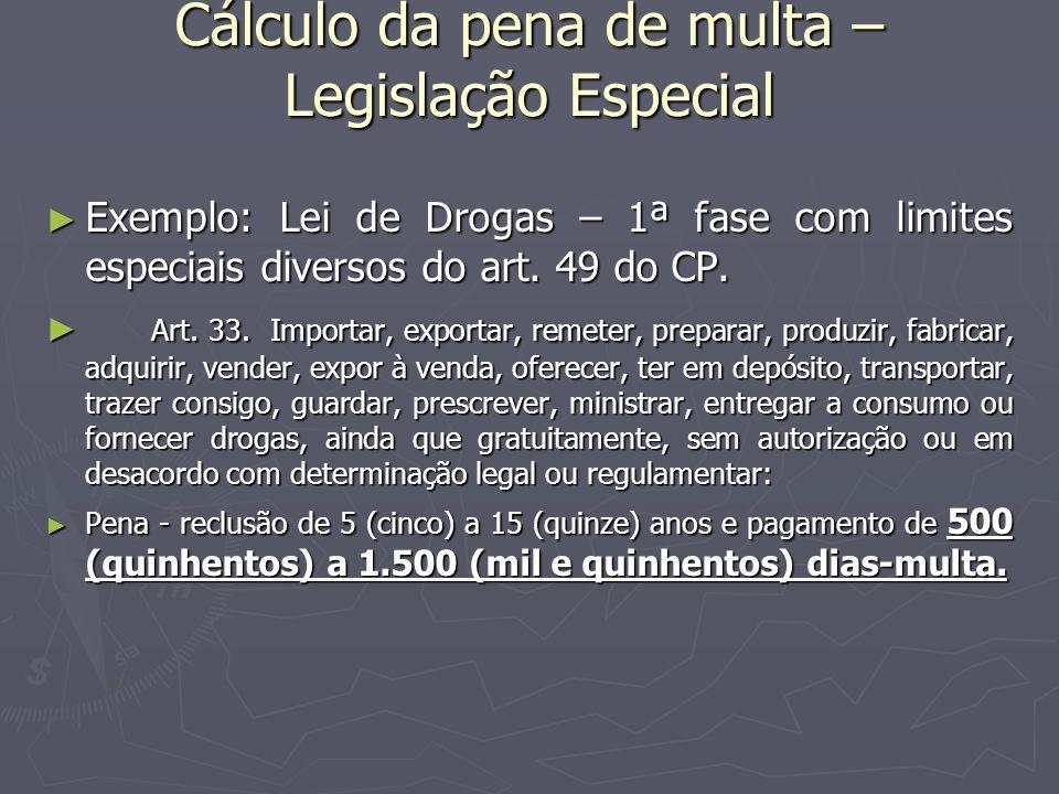 Cálculo da pena de multa – Legislação Especial Exemplo: Lei de Drogas – 1ª fase com limites especiais diversos do art. 49 do CP. Exemplo: Lei de Droga
