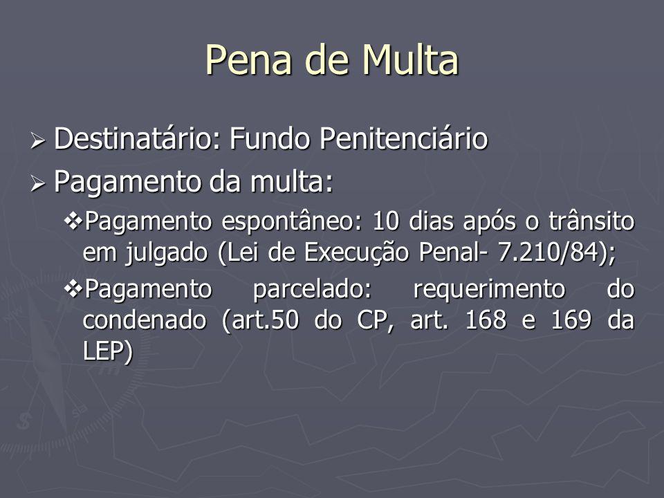 Pena de Multa Destinatário: Fundo Penitenciário Destinatário: Fundo Penitenciário Pagamento da multa: Pagamento da multa: Pagamento espontâneo: 10 dia