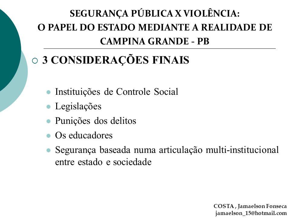 SEGURANÇA PÚBLICA X VIOLÊNCIA: O PAPEL DO ESTADO MEDIANTE A REALIDADE DE CAMPINA GRANDE - PB 3 CONSIDERAÇÕES FINAIS Instituições de Controle Social Le