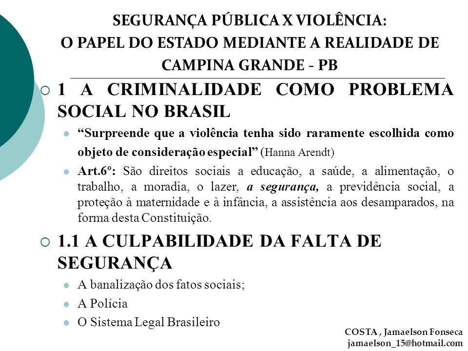 SEGURANÇA PÚBLICA X VIOLÊNCIA: O PAPEL DO ESTADO MEDIANTE A REALIDADE DE CAMPINA GRANDE - PB COSTA, Jamaelson Fonseca jamaelson_15@hotmail.com 1 A CRI