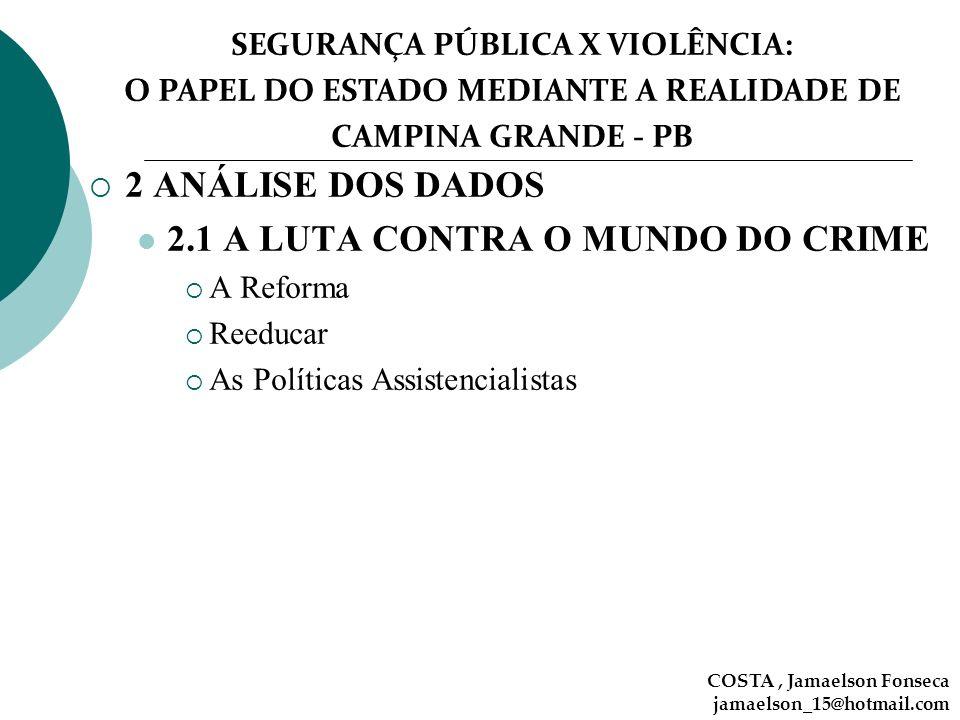 SEGURANÇA PÚBLICA X VIOLÊNCIA: O PAPEL DO ESTADO MEDIANTE A REALIDADE DE CAMPINA GRANDE - PB COSTA, Jamaelson Fonseca jamaelson_15@hotmail.com