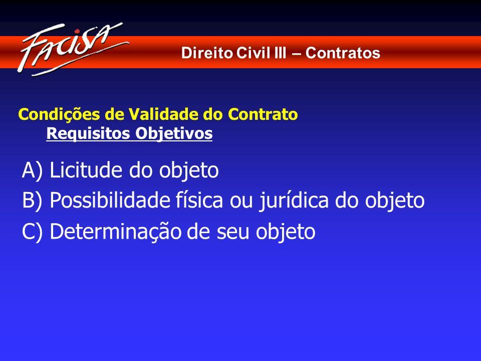 Direito Civil III – Contratos Condições de Validade do Contrato Requisitos Objetivos A) Licitude do objeto C) Determinação de seu objeto B) Possibilid