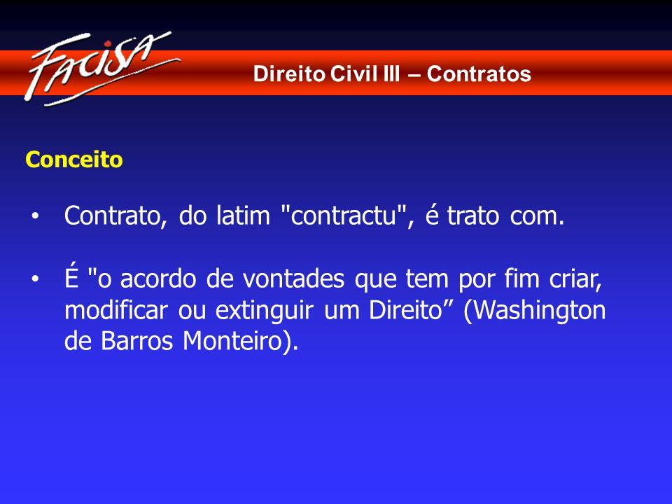 Direito Civil III – Contratos Conceito Contrato, do latim
