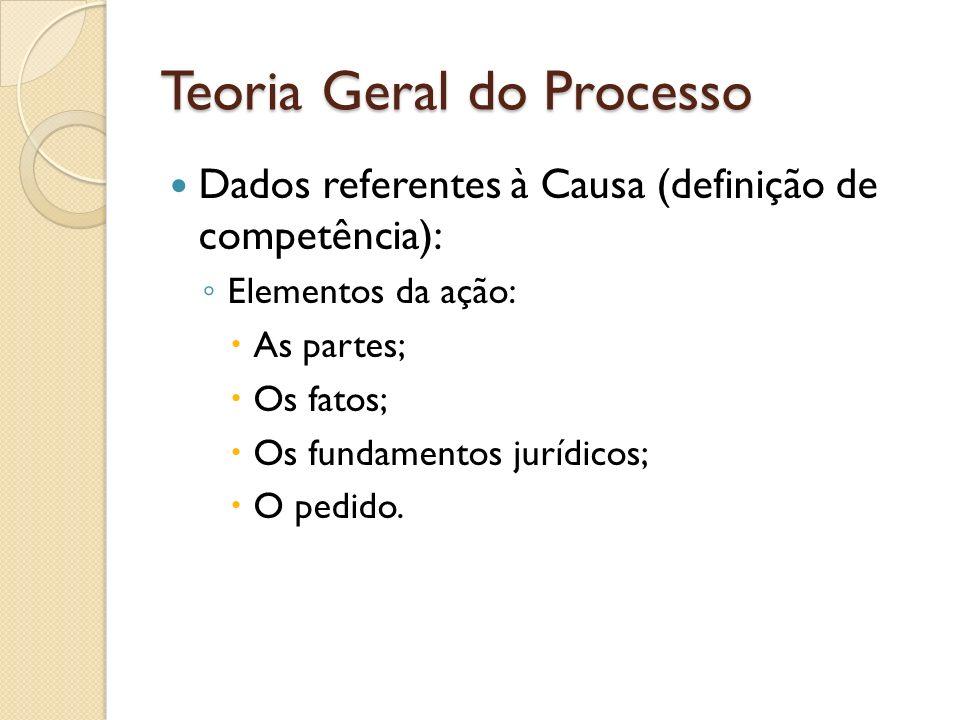 Teoria Geral do Processo Dados referentes à Causa (definição de competência): Elementos da ação: As partes; Os fatos; Os fundamentos jurídicos; O pedi