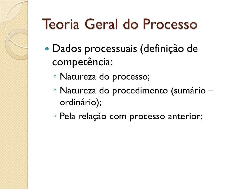 Teoria Geral do Processo Dados processuais (definição de competência: Natureza do processo; Natureza do procedimento (sumário – ordinário); Pela relaç