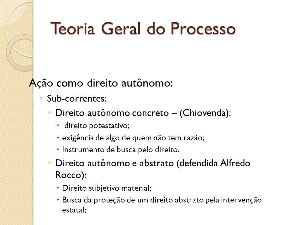 Teoria Geral do Processo Ação como direito autônomo: Sub-correntes: Direito autônomo concreto – (Chiovenda): direito potestativo; exigência de algo de