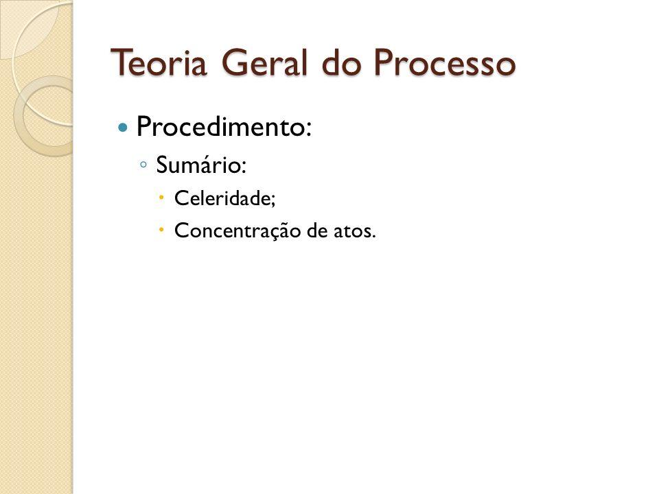 Teoria Geral do Processo Procedimento: Sumário: Celeridade; Concentração de atos.
