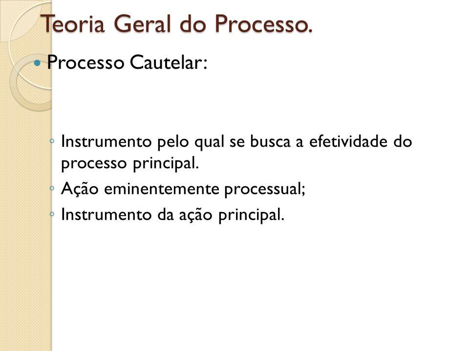 Teoria Geral do Processo. Processo Cautelar: Instrumento pelo qual se busca a efetividade do processo principal. Ação eminentemente processual; Instru