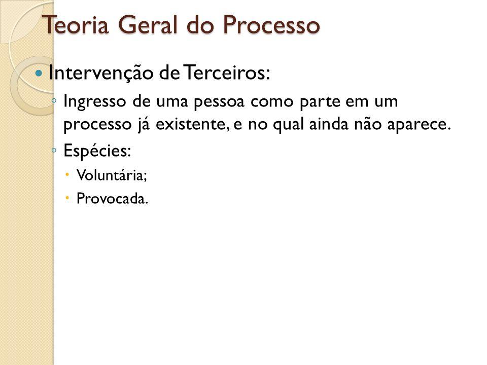 Teoria Geral do Processo Intervenção de Terceiros: Ingresso de uma pessoa como parte em um processo já existente, e no qual ainda não aparece. Espécie