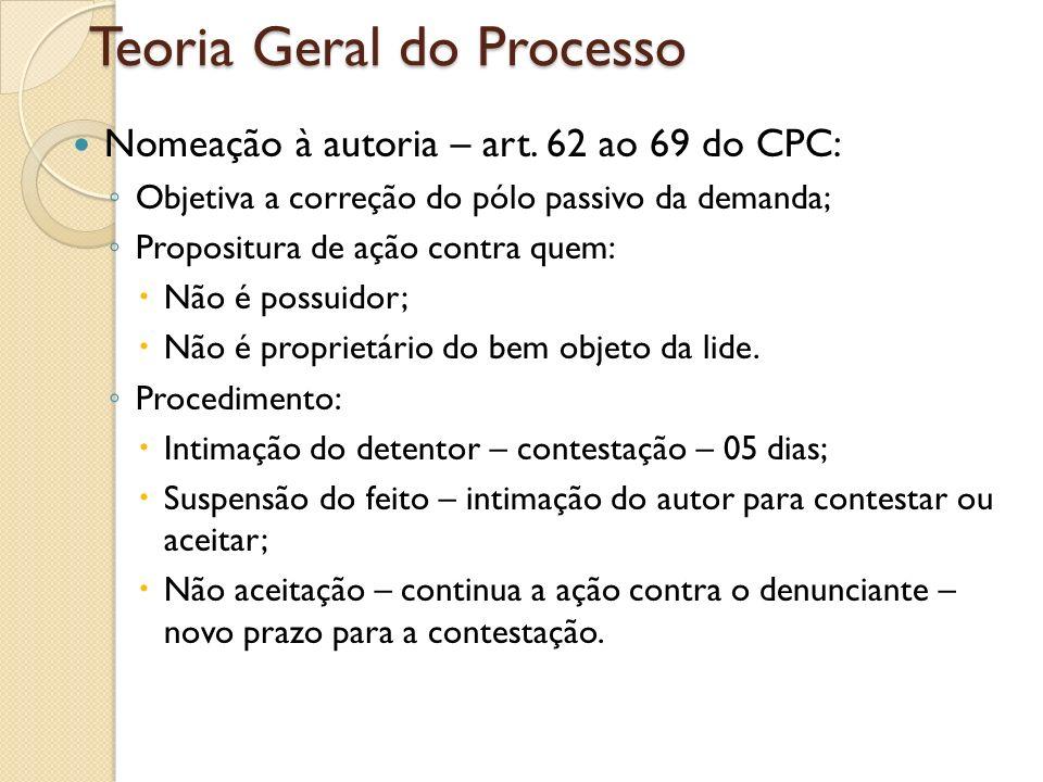 Teoria Geral do Processo Nomeação à autoria – art. 62 ao 69 do CPC: Objetiva a correção do pólo passivo da demanda; Propositura de ação contra quem: N