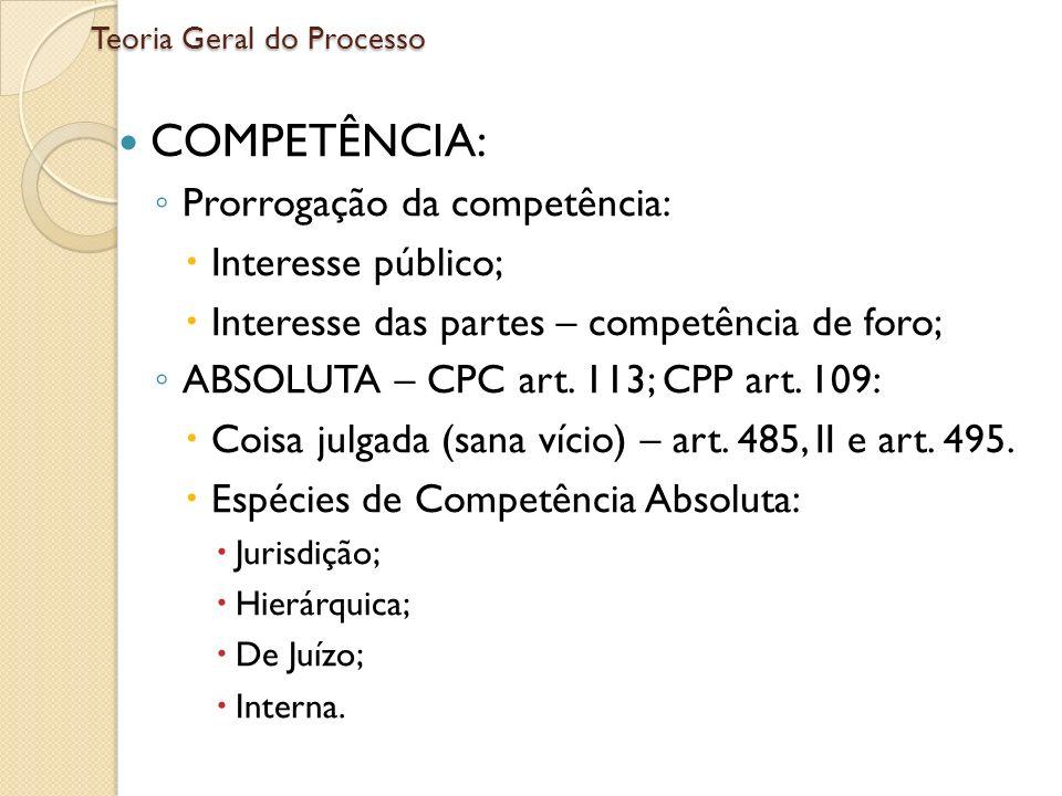 Teoria Geral do Processo COMPETÊNCIA: Prorrogação da competência: Interesse público; Interesse das partes – competência de foro; ABSOLUTA – CPC art. 1