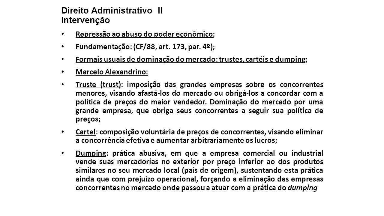 Direito Administrativo II Intervenção Repressão ao abuso do poder econômico; Fundamentação: (CF/88, art. 173, par. 4º); Formais usuais de dominação do