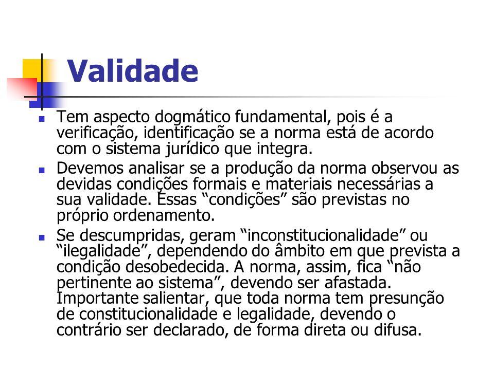 Validade Tem aspecto dogmático fundamental, pois é a verificação, identificação se a norma está de acordo com o sistema jurídico que integra. Devemos