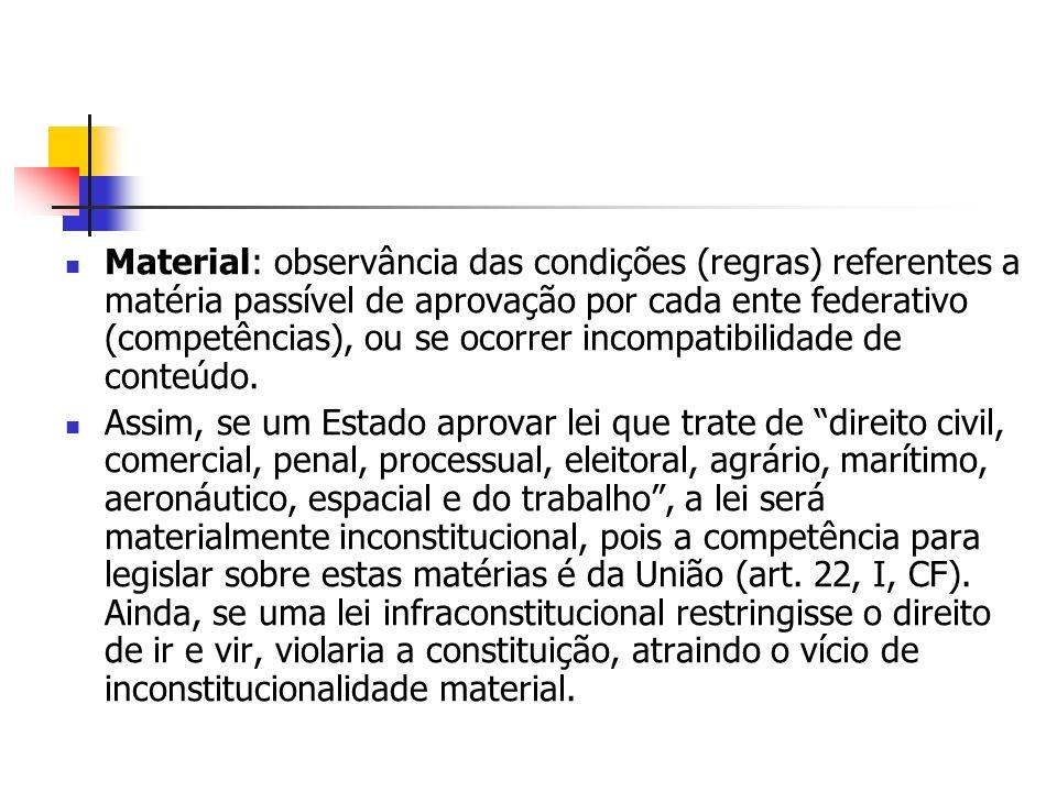 Material: observância das condições (regras) referentes a matéria passível de aprovação por cada ente federativo (competências), ou se ocorrer incompa