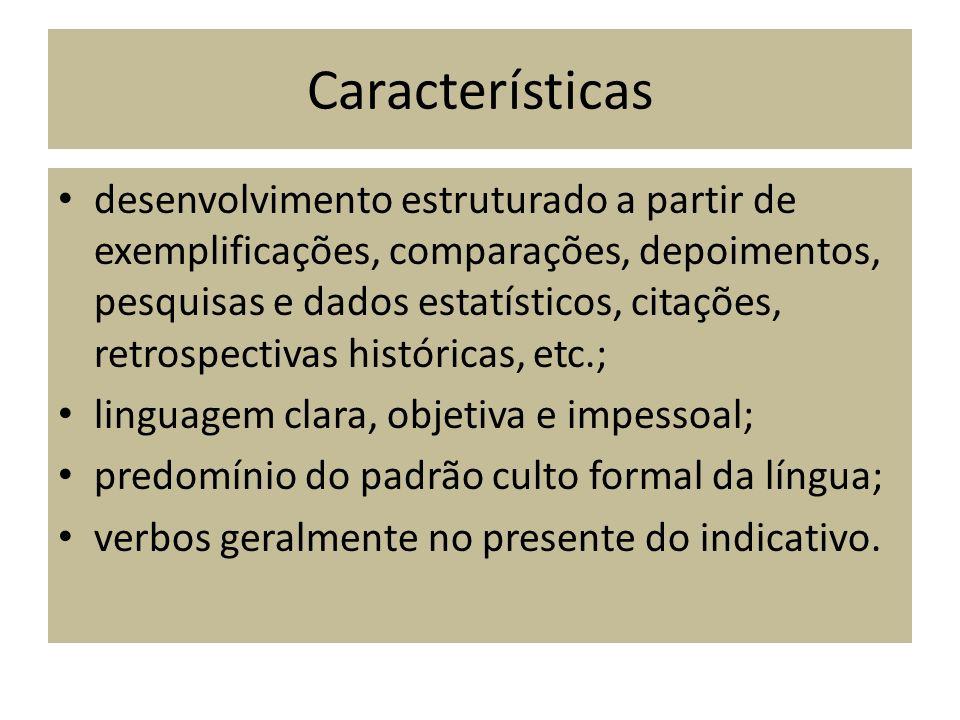 Características desenvolvimento estruturado a partir de exemplificações, comparações, depoimentos, pesquisas e dados estatísticos, citações, retrospec
