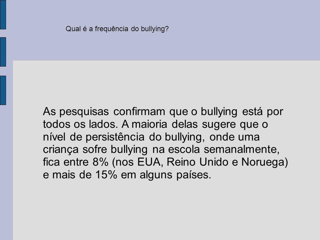 Qual é a frequência do bullying? As pesquisas confirmam que o bullying está por todos os lados. A maioria delas sugere que o nível de persistência do