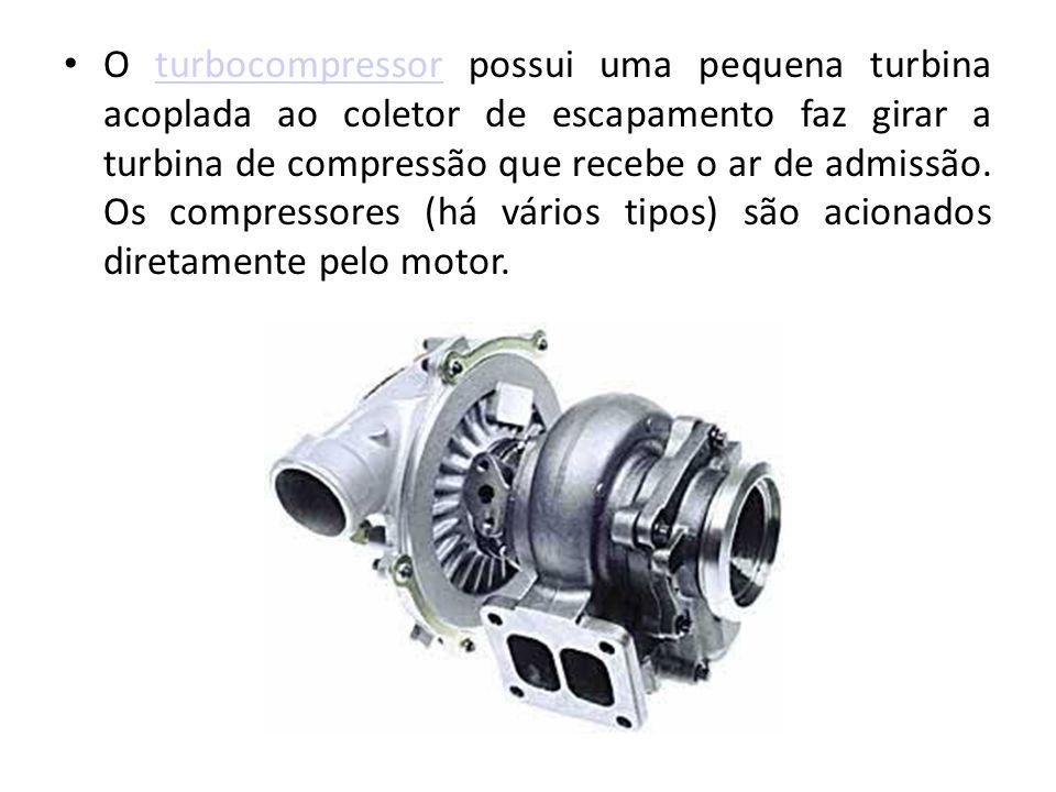 O turbocompressor possui uma pequena turbina acoplada ao coletor de escapamento faz girar a turbina de compressão que recebe o ar de admissão.