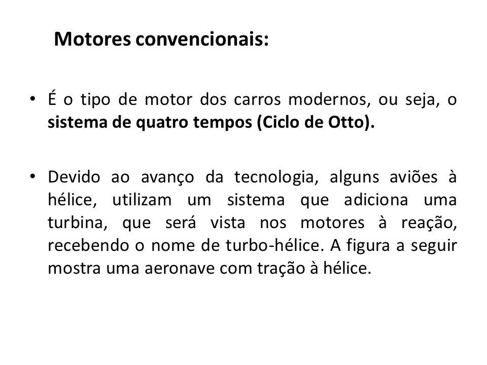 Motores convencionais: É o tipo de motor dos carros modernos, ou seja, o sistema de quatro tempos (Ciclo de Otto).
