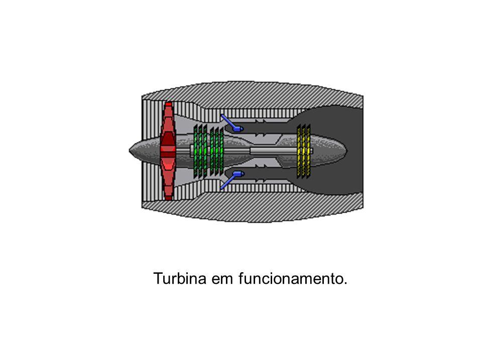 Turbina em funcionamento.