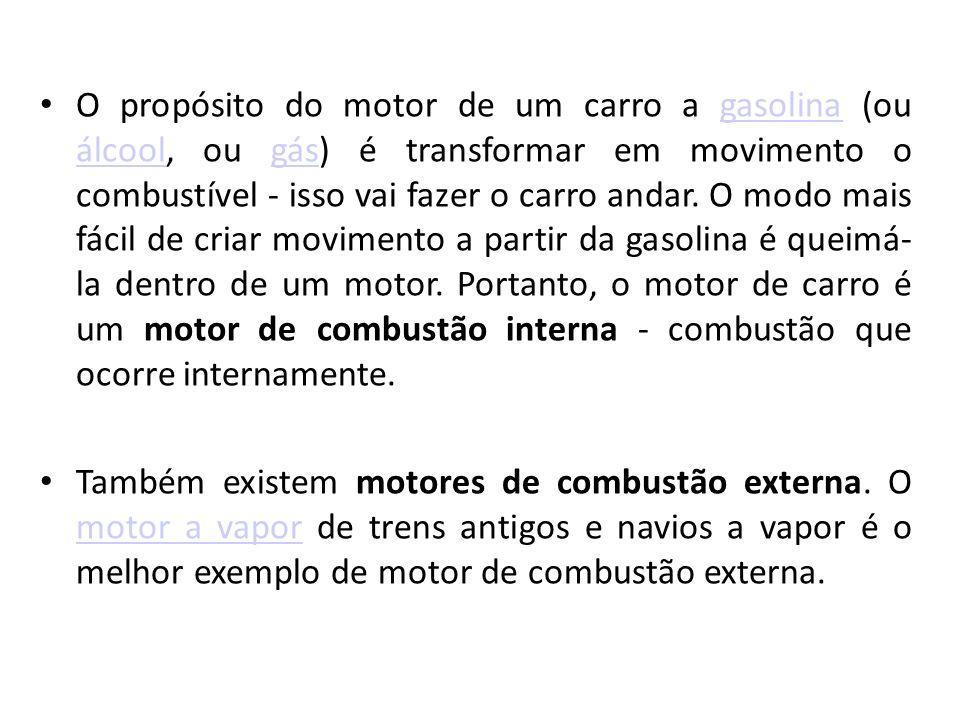 O propósito do motor de um carro a gasolina (ou álcool, ou gás) é transformar em movimento o combustível - isso vai fazer o carro andar.