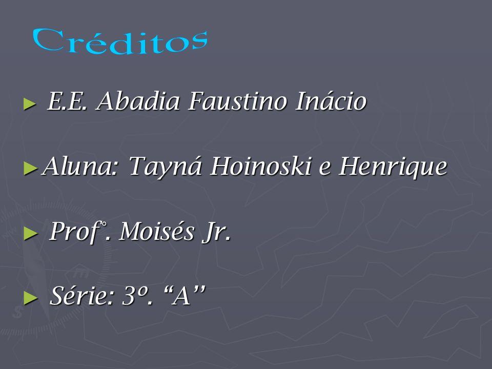 E.E. Abadia Faustino Inácio E.E. Abadia Faustino Inácio Aluna: Tayná Hoinoski e Henrique Aluna: Tayná Hoinoski e Henrique Prof°. Moisés Jr. Prof°. Moi