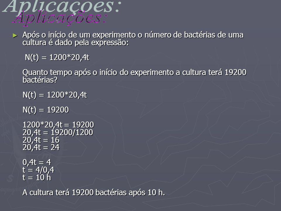 Após o início de um experimento o número de bactérias de uma cultura é dado pela expressão: N(t) = 1200*20,4t Quanto tempo após o início do experiment