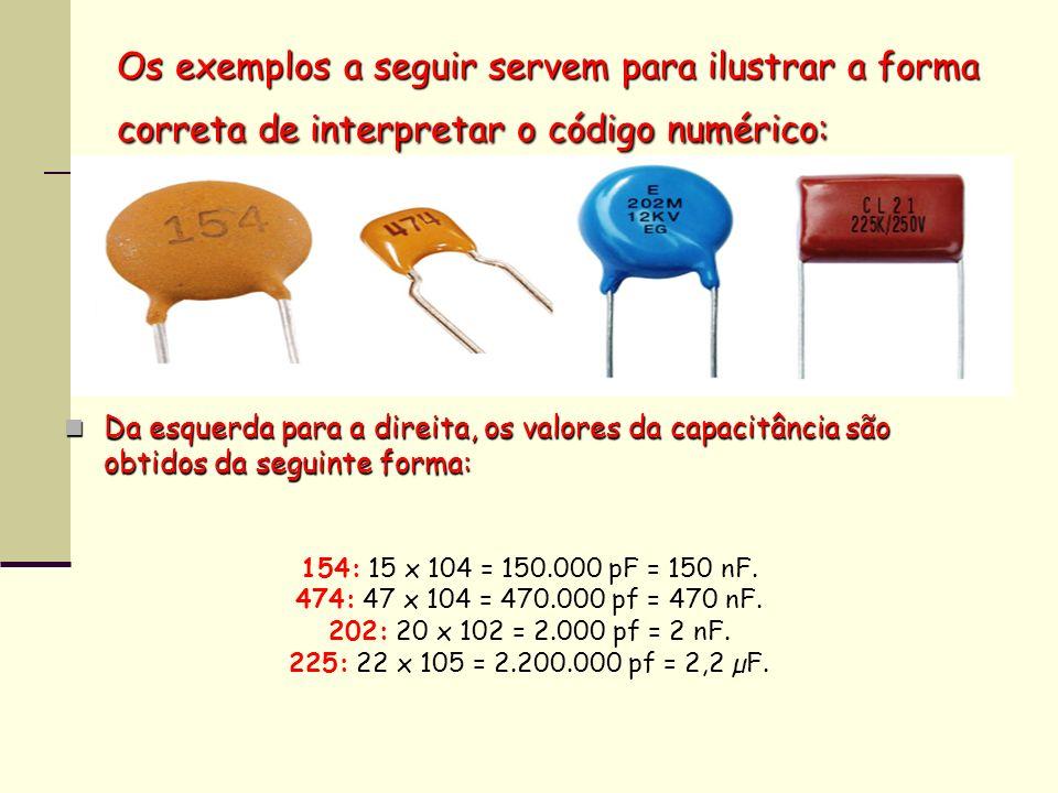 Os exemplos a seguir servem para ilustrar a forma correta de interpretar o código numérico: Da esquerda para a direita, os valores da capacitância são
