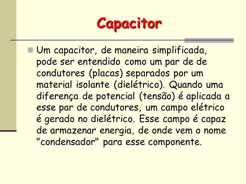 Capacitor Um capacitor, de maneira simplificada, pode ser entendido como um par de de condutores (placas) separados por um material isolante (dielétri